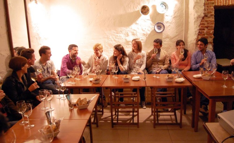 with friends in Bar Lambuzo's underground cellar, tasting wines from Bodegas Barbadillo