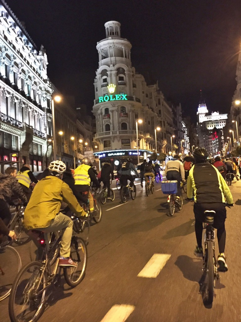 Bici Critica (Critical Mass) cyclists going up Gran Via