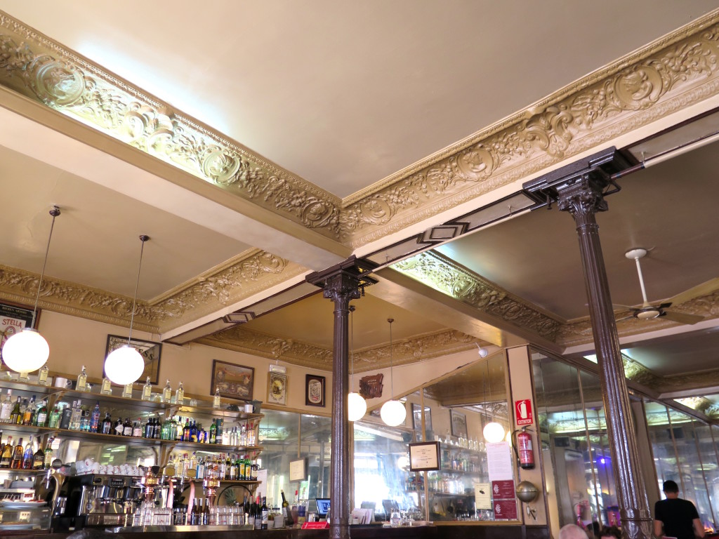 Café Barbieri's beautiful ornate cieling