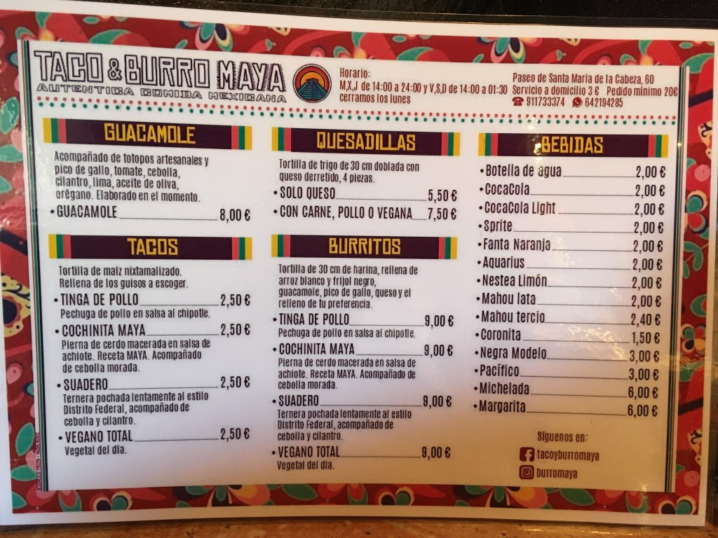 The menu - full of options for all!