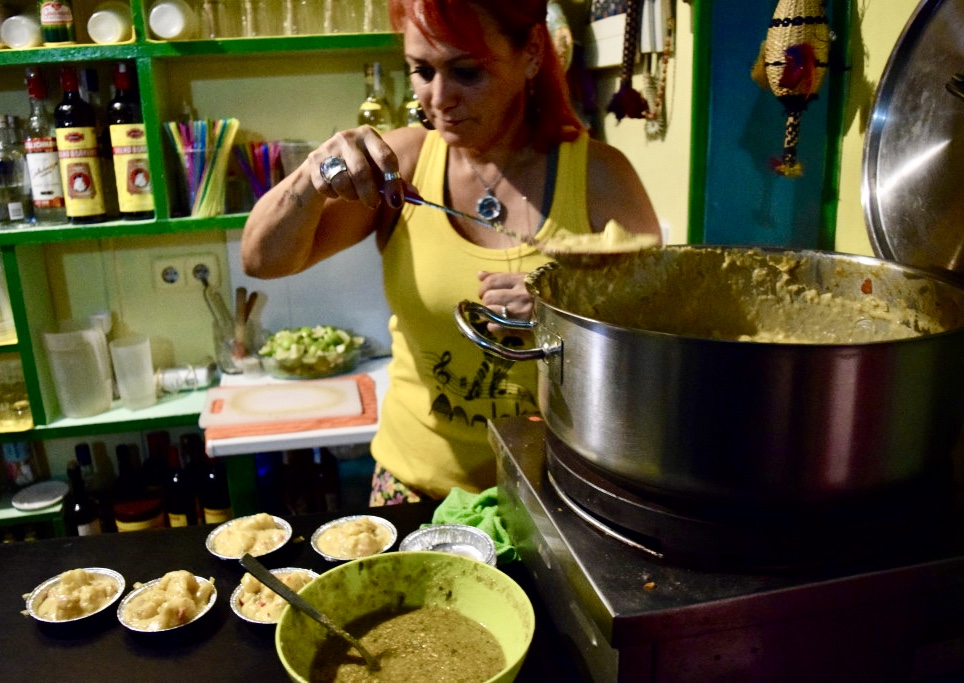 "Dishing out the ""Moqueca de Mandioca con Pesto"" tapa at Maloka Bar Brasileiro in Lavapiés"