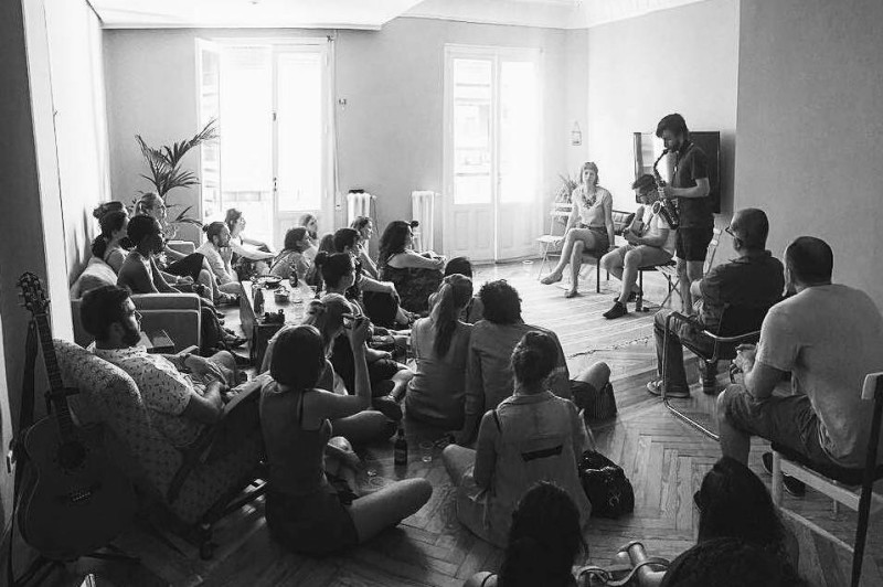 FaneLiving Room Concerts Madridka Duet in rizoma gallery.jpg Faneka in Festival Shelter - musica por los refugiados in La Tabacalera.jpg LRC NakedMadrid.docx Lyre in Dan and Sabine's living room- 18 June 2017.jpg Patient 108 in Carlos's living room.jpg Sergio Salvador concert pic.jpg Taiacore in Nacho's living room.jpg Taiacore on Eloisa's rooftop terrace.png